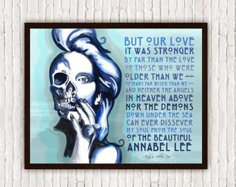 Edgar Allan Poe Wall Art // Annabel Lee Skeleton Skull - Poetry Art // Boho Decor - Bohemian Decor - Poster Print - Pastel Goth Art