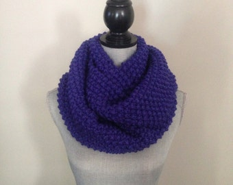 Knitted infinity scarf, Infinity scarves, Knit scarf In Cobalt Blue