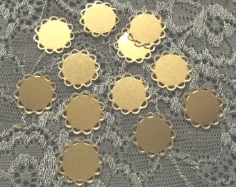 11mm round brass flat bases lace edge settings connectors 12 pieces lot 1
