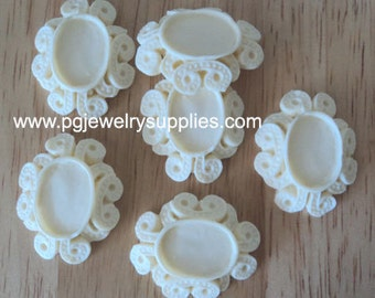18x13 oval ivory resin scalloped edge raised fancy settings 6 pcs