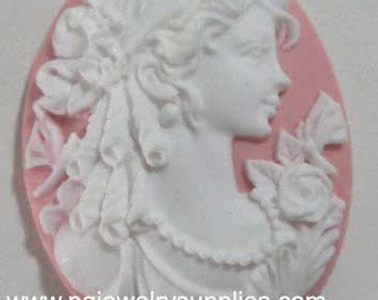 40mm x 30mm oval ornate lady ringlets profile resin cameos white on pink 2 pcs lot l