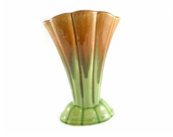 Vintage 1950's Diana Ceramic Brown Jade Green Drip Glaze Fan Vase