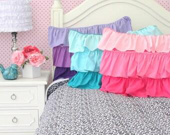 Purple, Aqua, and Pink Ruffle Pillow Shams