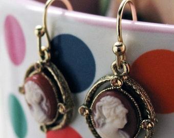 Cameo Earrings Gold Tone Red Enamel White Face Drop Earrings Silk Road Jewelry