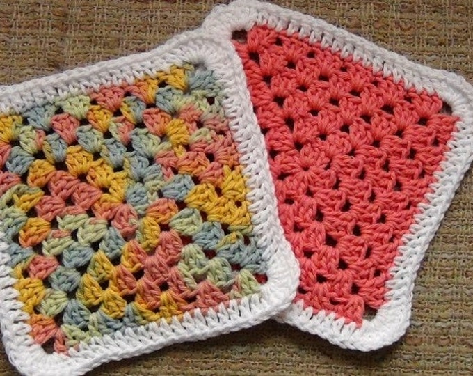 Dishcloths - Washcloths - Eco Friendly Cleaning - One Pair 8 inches square - Cotton Crocheted Dishcloths / Washcloths