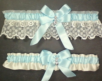 Wedding Garter Set Light Blue on Ivory or White, Light Blue Double Loop Bow Hearts Charm ~ Allison Line (May also be purchased individually)