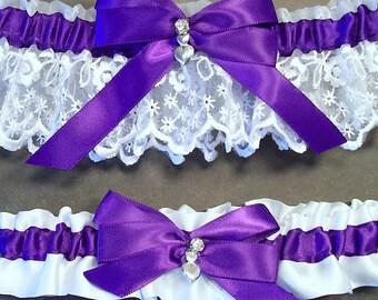 Regal Purple on White Wedding Garter Set Bridal Garter Set, Keepsake Garter Toss Garter Bow with Rhinestone & Hearts Charm