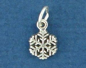 SNOWFLAKE Charm .925 Sterling Silver, Winter Snow Flake MINIATURE Small - elp2051