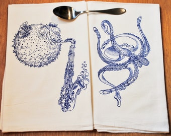 Sea Life Tea Towel Set of 2 - Screen Printed Organic Cotton - Kitchen Towels - Blue Blowfish and Octopus
