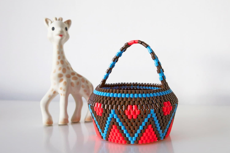 Handmade Beaded Basket : Handmade swedish beaded baskets scandinavian vintage folk