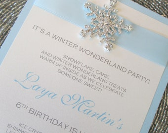 Winter Wonderland Invitation, Frozen Invite, Baby Blue, Rhinestone Snowflake