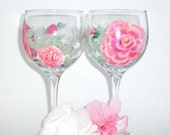 Hand Painted Pair of Shabby Pink Roses wine glasses