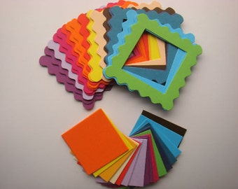 20 Bright scallop edge frame die cuts with inserts for cards toppers cardmaking scrapbooking craft project