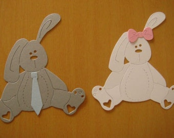 Gorgeous stuffed bunny bunnie Die Cuts for Baby Cards/toppers -easter craft cardmaking