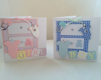 "Handmade Welcome ""baby girl - baby boy"" congratulations card for birth new baby"