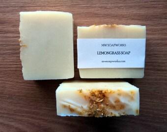 Lemongrass Soap with Calendula Petals // Essential Oil Cold Process Soap // Luxury Citrus Bath Soap