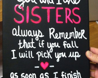Black canvas with funny sisters quote / Customizable / Cousins / Pink