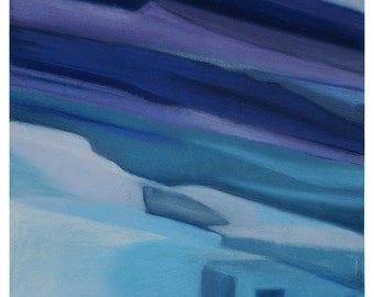 Blue Pastel Abstract- 11x11- Original Drawing on Paper- Surreal, Modern, Small Format- Turquoise, Purple