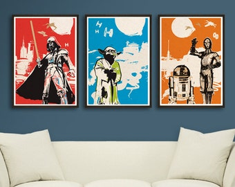 Vintage Pop Art Star Wars 3 Posters for 30 Dollars - Different sizes - Darth Vader, Yoda, C3PO R2D2 Fan Art Illustration boy's room