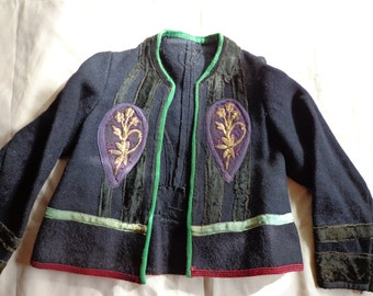 Vintage jacket blue embroidered Greek small