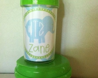 Blue Elephant Personalized Sippy Cup, Straw Cup, Snack Cup, or Set