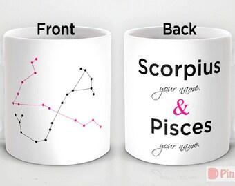 Personalized 11oz/ 15oz mug cup designed PinkMugNY - Scorpius & Pisces - Zodiac Constellation - Couples Mugs