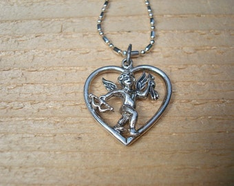 Cupid Angel Heart 925 Sterling Silver Pendant / Necklace