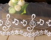 1yard DIY Lace ribbon online store Musical Notes ambroidered ribbon DIY material 10cm lace belt online sale