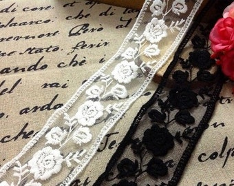 Embroidered Tulle Lace, Black Rose Lace Trim, Black Fabric Lace, Mesh Trim,ivory double sides lace trim