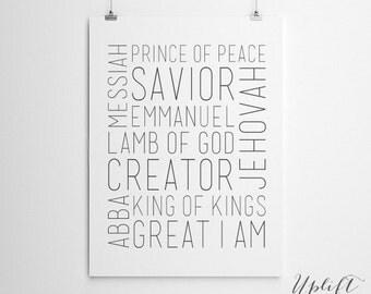 Names of Jesus - Christian Printable - 8 x 10 Digital Print - INSTANT DOWNLOAD -