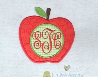 Apple Embroidery Applique with Monogram