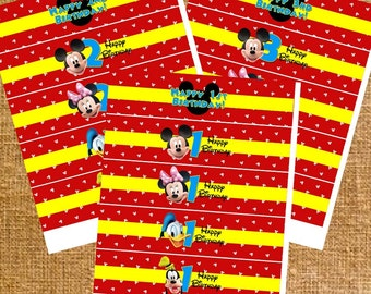 Mickey Mouse Clubhouse Birthday Party Favors - Water Bottle Labels - Digital File - INSTANT DOWNLOAD