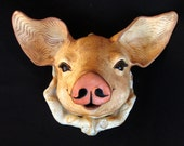 Large Handmade Ceramic Pig Clay Art Mask Unique Piggy Wall Art Kitchen Home Decor Wall Hanging Original Animal Art Whimsical Pig Sculpture
