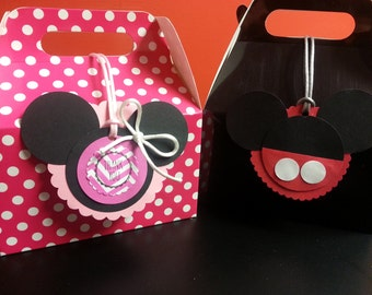 Minnie Mouse, Mickey Mouse Party Favor  Box. 12 pcs