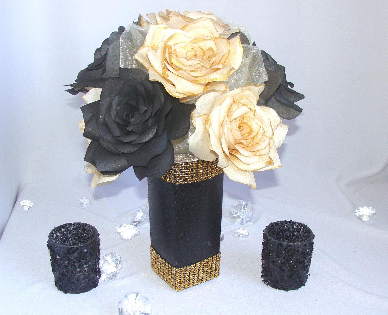 Gold centerpieces black wedding decor bridal by
