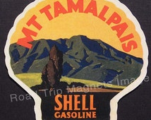 Shell Gasoline 1920s Travel Decal Magnet for MOUNT TAMALPAIS. Accurate reproduction & hand cut in shape as designed. Nice Travel Decal Art