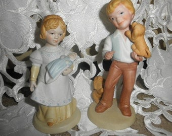 "Avon Figurines Handcrafted ""A Mother's Love"" 1981 and Best Friends 1981"