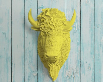 The Yellowstone in Yellow - Faux Bison Head Taxidermy - Resin Animal Fake Fauxidermy Ceramic Mounted Wall Decor Plastic Decorative Buffalo