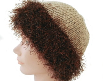 Fun Fur Hat - Furry Knitted Hat - Knitted Hat With Fur -