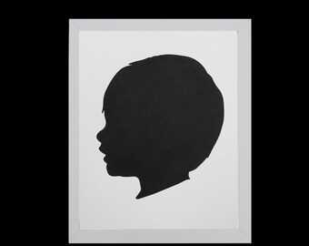 Custom Silhouette Portrait, Personalized Children's Silhouette Art, Profile, Custom Gift, Holiday Gift, Nursery Art- 5x7 or 8x10- BLACK