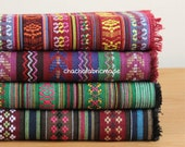 Tribal Fabric Ethnic Fabric Aztec Fabric Native Fabric BOHO Bohemian Style Tablecloth Fabric Hand Woven Color Stripe Fabric- Half Yard