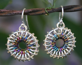 Handmade Chainmaille Chain Maille Rainbow Niobium and Bright Aluminum Sunburst earrings