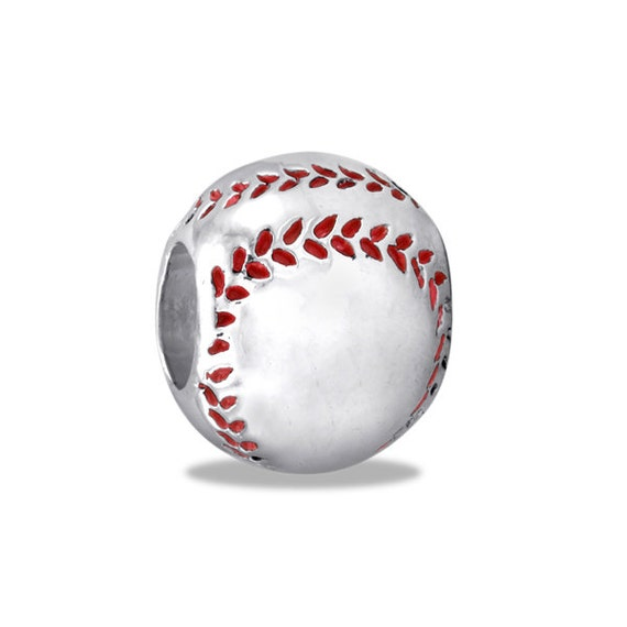 Silver baseball bead for charm and bead necklaces or bracelets hh91 7