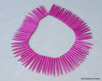 Fuchsia Turquoise Points Spikes -16 inch Strand. - 5mm x 45mm Long
