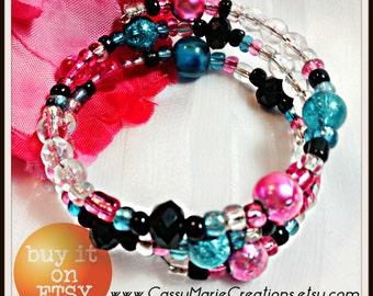 Pink Teal and Black Handmade Beaded Memory Wire Bracelet 081302