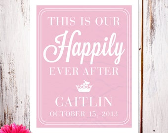 """Personalized Birth Announcement Art Print """"This is Our Happily Ever After"""" in Pink"""