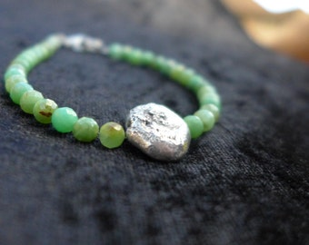 Meteorite Bracelet - Chrysoprase
