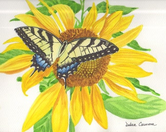 Original Watercolor Painting of a Swallowtail Butterfly on a Sunflower