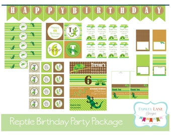 Reptile Birthday Party Printable Package