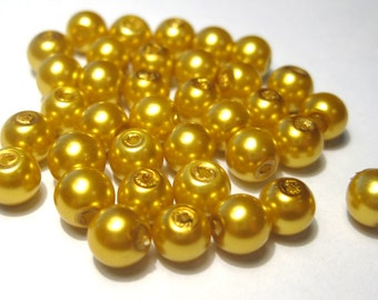 100pcs Gold 6mm Round Glass Pearl Beads (LO1)